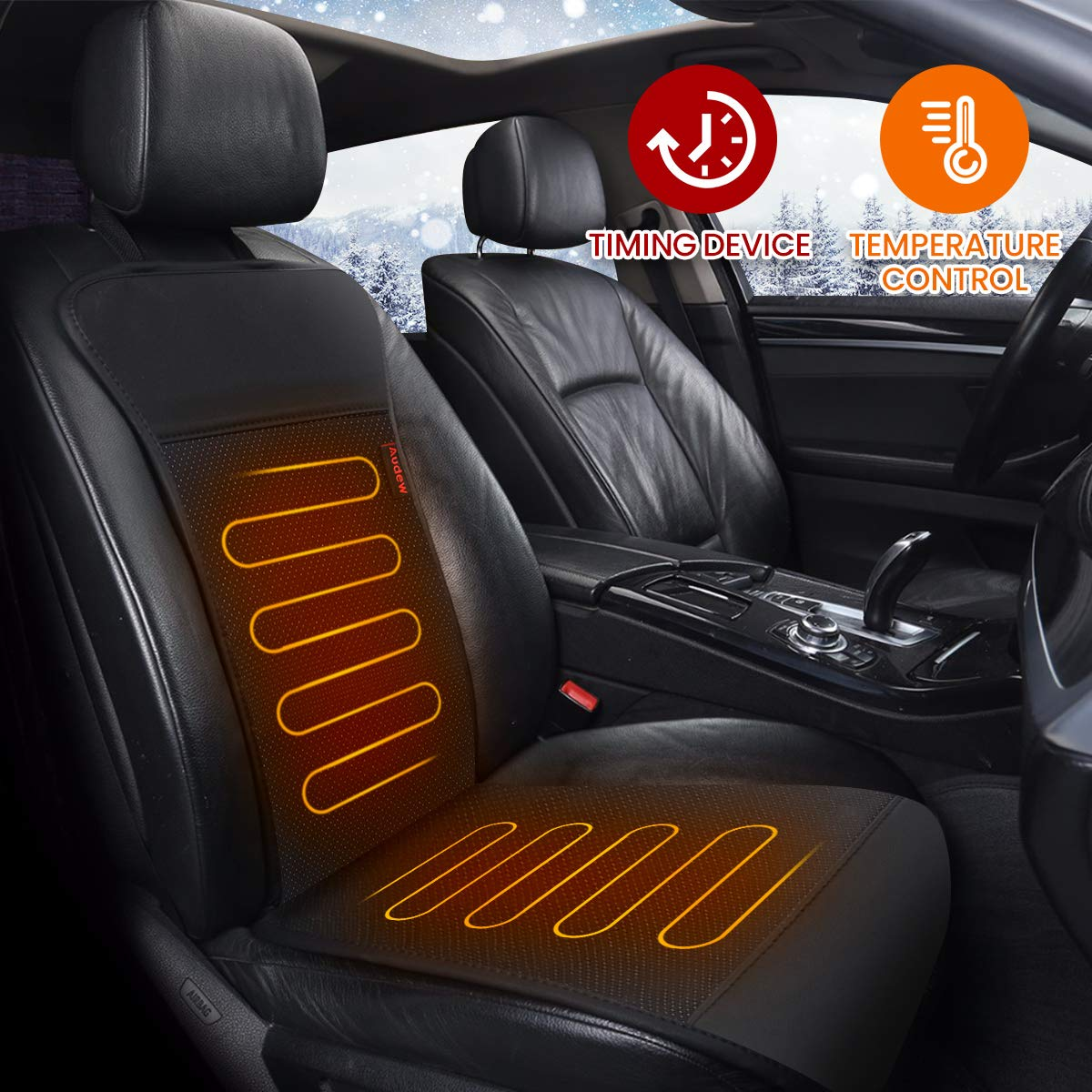 Audew Car Heated Seat Cushion 12 V Car Heated Cover with Intelligent Temperature Controller Car Seat Warmer Car Heated Pads Black