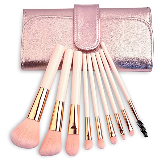 Mooxury Professional Synthetic Kabuki Makeup Brush Set with Case - Powder,Eyeshadow,Eyebrow,Lip,Eye Lash,Contour and Foundation Make Up Brushes - 9 Pcs