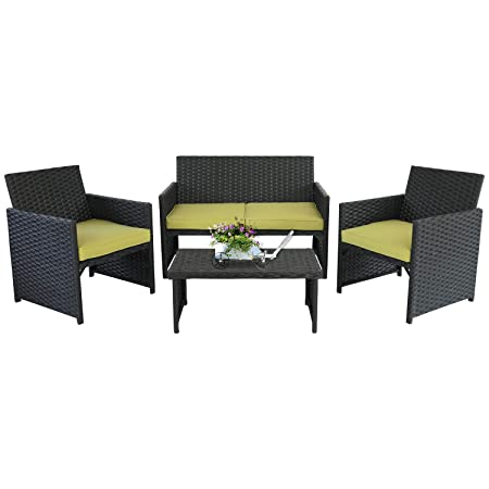 Rattaner 4-Piece Wicker Furniture Set Outdoor Patio Rattan Conversation Sofa Armchair with Table Yellow Cushion