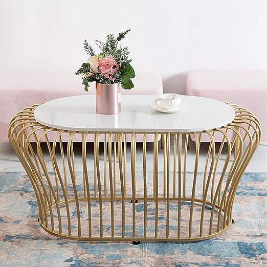 mesas de Centro Mesa de Centro Decorativa nórdica Oval de Hierro ...