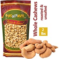 Dry Roasted Unsalted Cashews ~ 2 lbs. - Fancy Whole . No Oil . We Got Nuts