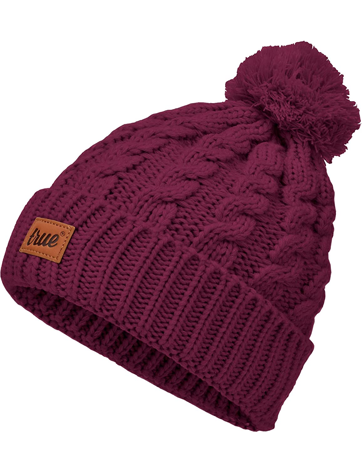 da9301a7eddd1 TRUE VISION Womens Beanie Hat - Warm Cable Knitted Toque Bobble Hat with 2  Poms  Amazon.ca  Clothing   Accessories