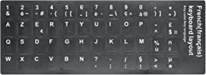 [2PCS Pack] HRH French Keyboard Stickers,PC Keyboard Stickers Black Background with White Lettering for Computer