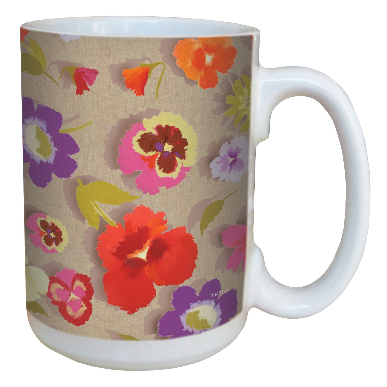 Tree-Free Greetings lm43741 Secret Garden Floral on Linen by Nel Whatmore Ceramic Mug, 15-Ounce