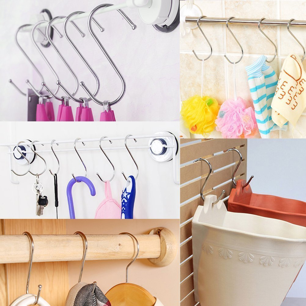 Soqool Stainless Steel Hooks Shower Curtain Rings- 12 Pack S Shaped Hanger Closet Hanging Hooks Kitchen/Bathroom/Office Hooks for Hanging a Multitude of Items(Large)
