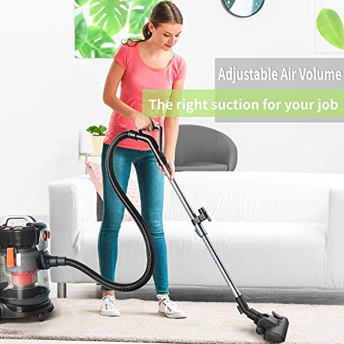 Wet Dry Vacuum, 4 Gallon 4 HP Peak Shop Vacuum with Extension Wand 4 Wheels Low Power Loss for Home Garage Cars