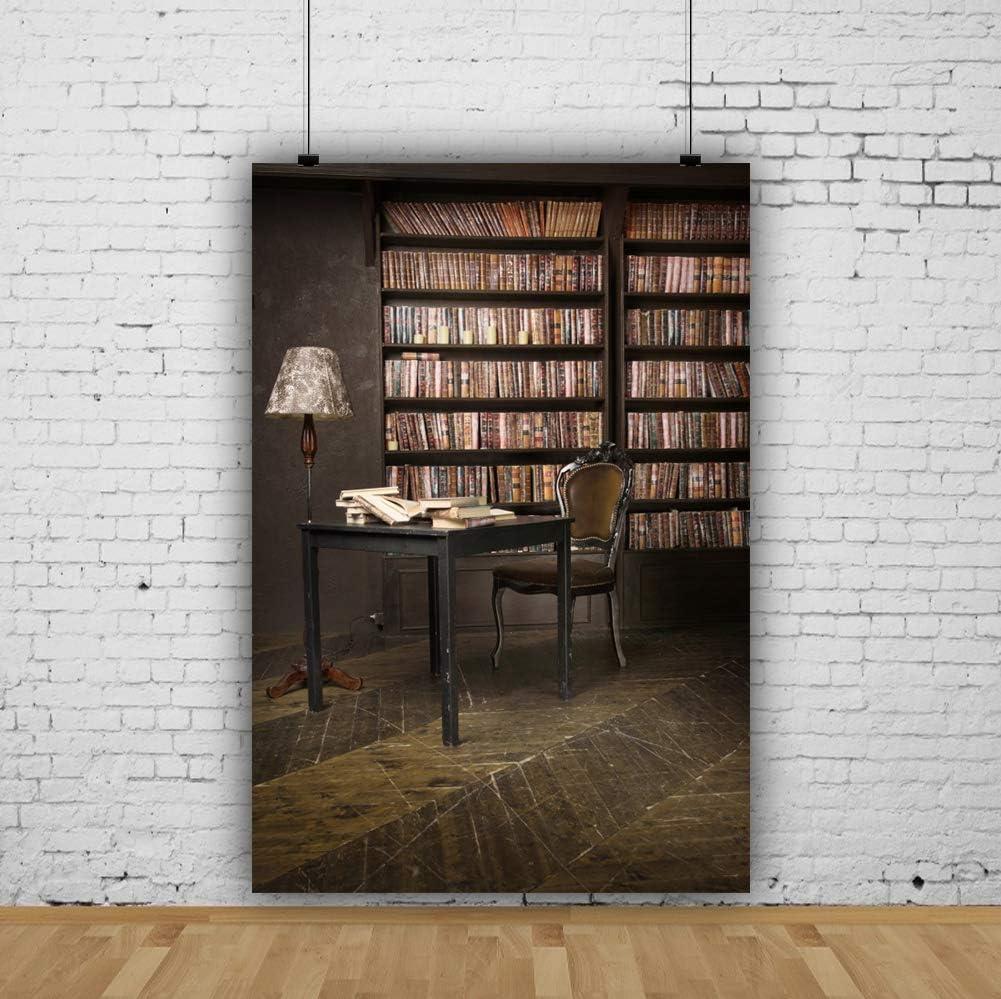 YEELE Vintage Bookshelf Backdrop 8x10ft Interior Room Home Study Bookcase Photography Background Teacher Student Writer Home Pictures Kids Adults Portrait Photoshoot Studio Props Digital Wallpaper
