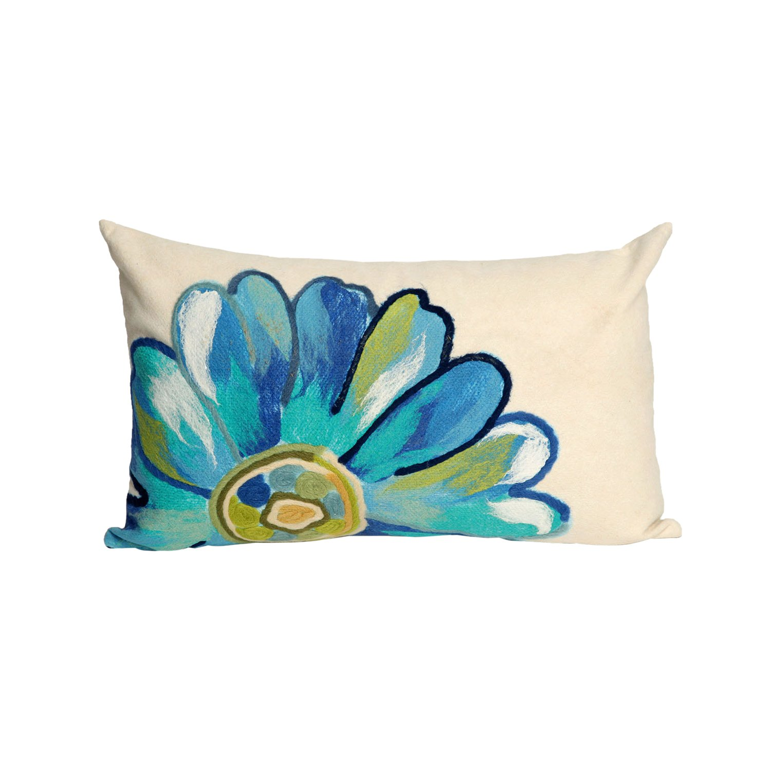 Liora Manne 7S01SA36804 Mystic III Flower Power Aqua Indoor/Outdoor Pillow