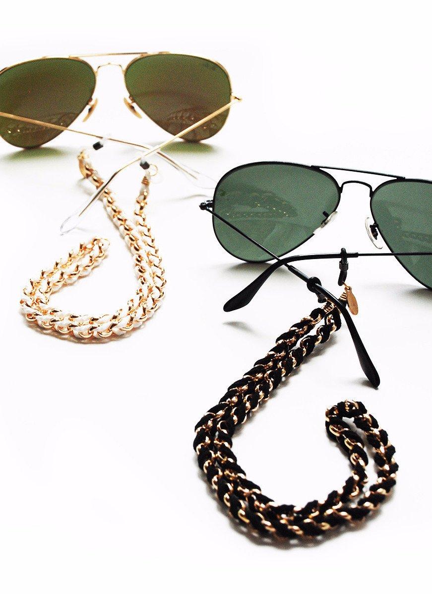 Sintillia Boho Braid Sunglass Strap, Glasses Chain, Eyeglass Cord, Black with Clear Attachments
