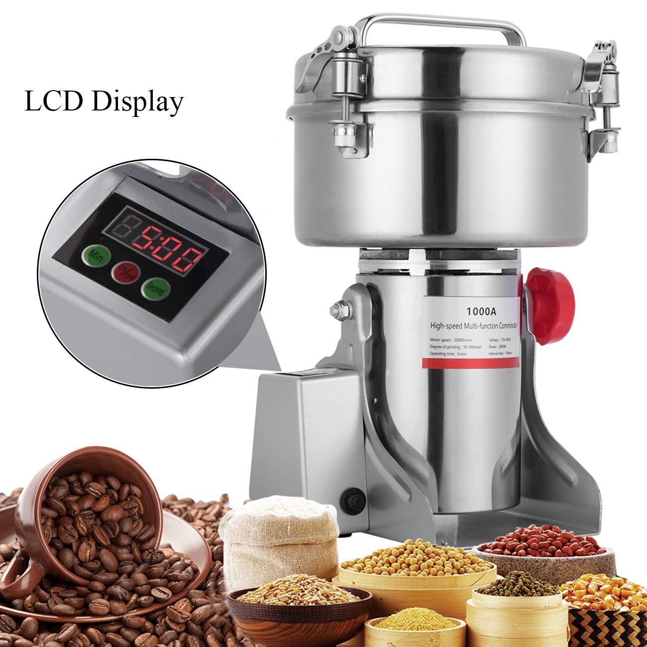 APWONE 1000G Electric Grain Mills Grinder Powder LCD Digital Stainless Steel Ultra Grinder Machine Pulverizer for Kitchen Herb Spice Pepper Coffee Corn