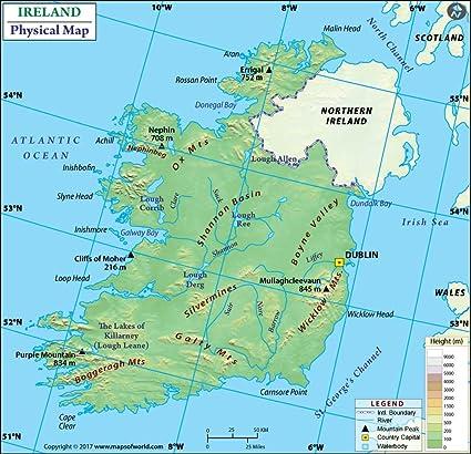 Cartina Geografica Fisica Dell Irlanda.Irlanda Mappa Fisica 91 4 Cm W X 88 2 Cm H Amazon It Cancelleria E Prodotti Per Ufficio