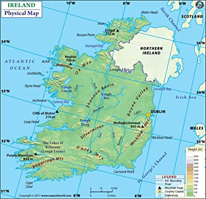 World Map Of Ireland.Amazon Com Ireland Physical Map 36 W X 34 74 H Office Products