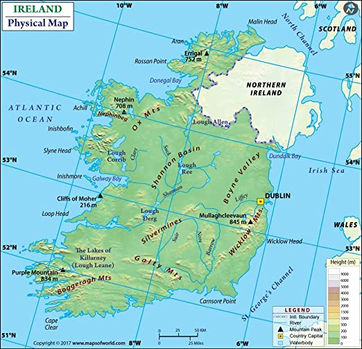 Map Of Ireland Lakes.Amazon Com Ireland Physical Map 36 W X 34 74 H Office Products