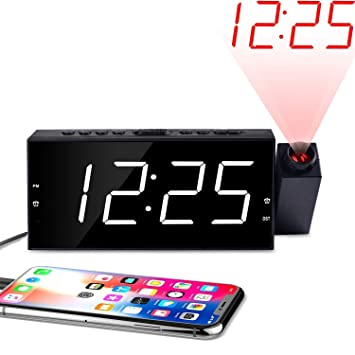 """OnLyee Projection Ceiling Wall Clock, Alarm Clock, 7"""" LED Digital Desk/Shelf Clock with Dimmer, USB Charging, AC Powered and Battery Backup for ..."""