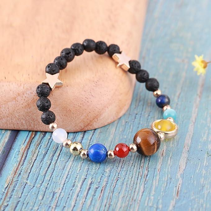 Elastic-Lava Stone-Women Byson Jewelry Hot Solar System Bracelet Universe Galaxy The Nine Planets Guardian Star Natural Stone Beads Bracelet Bangle for Unisex