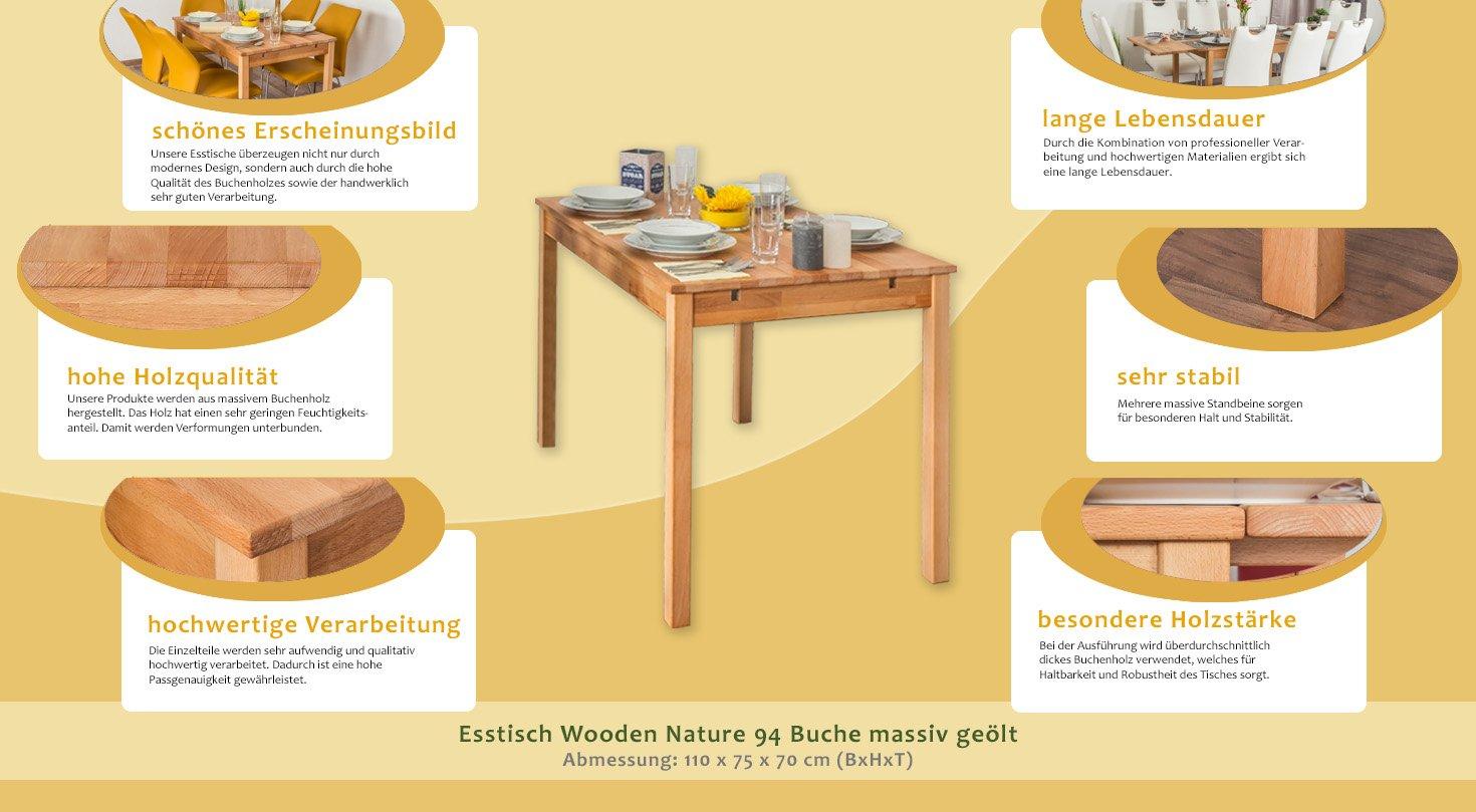 Esstisch Wooden Nature 94 Buche Massiv Geolt 110 X 70 Cm B X T
