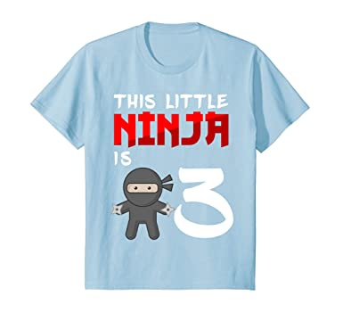 Kids Ninja Birthday Shirt 3 Year Old 3rd Party Gifts 4 Baby Blue