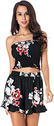 MAXIMGR Womens Two Piece Off Shoulder Floral Print Crop Top Shorts Rompers
