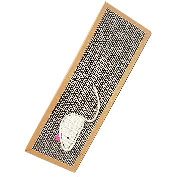 Tabla rascador para gatos, cartón con hierba gatera y ratón de sisal: Amazon.es: Jardín