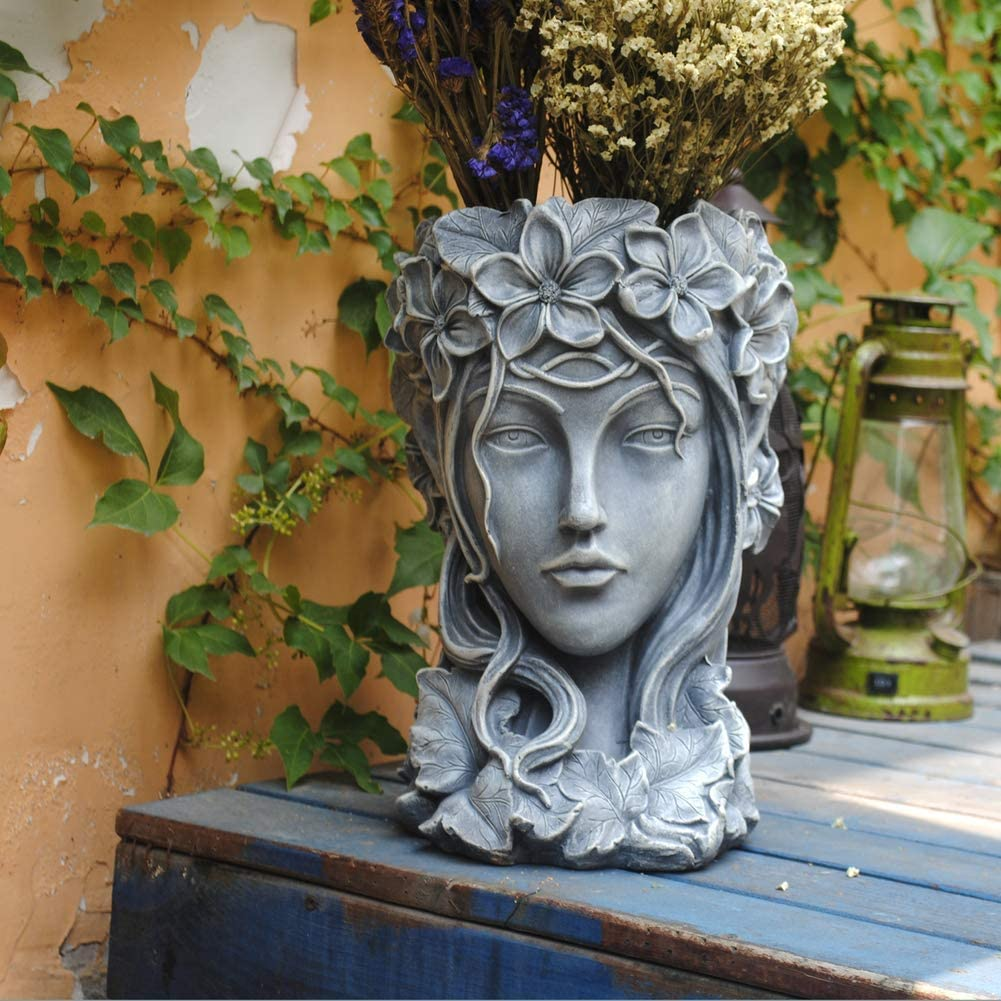 Goddess Head Planter,Elegant Greek Goddess Statue,Creative Succulents Plant Pot with Drainage Hole Hand Crafts for Patio Lawn Garden Yard Decor Gray 23x23x35cm(9x9x14inch)