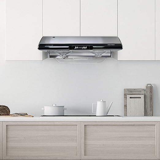 Hauslane C395 - Campana extractora de cocina para debajo del gabinete, diseño delgado de acero inoxidable con autolimpieza, ajuste de 6 velocidades, ventilador de escape de 750 CFM, lámpara incandescente | Ventilación