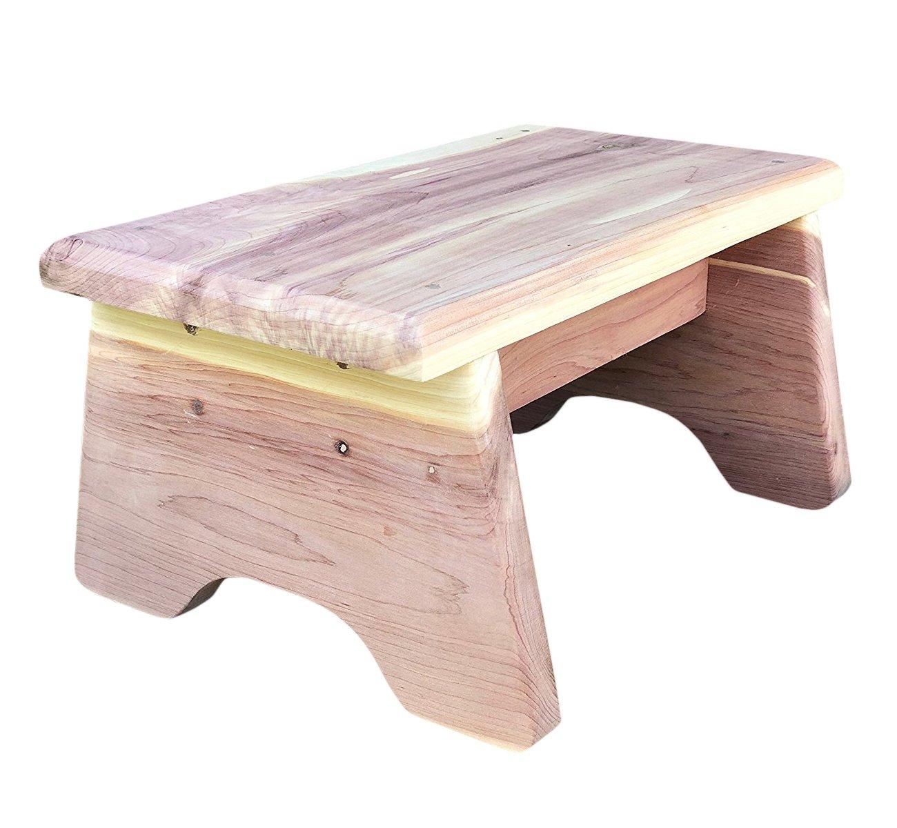 Vundahboah Amish Goods Cedar One Step Stool Curved Leg Style