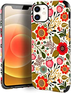 CUSTYPE Case for iPhone 12 Pro 2020, iPhone 12 Case Floral, iPhone 12 Pro Case Flower Pattern Leather Soft TPU Slim Bumper Girls Protective Cover for iPhone 12 & 12 Pro 5G 6.1 Inch, Secret Garden
