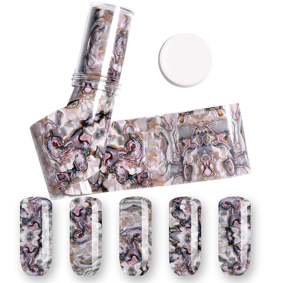 Nagel-Kunst-Thermotransfer-Folie 4 * 120CM 3D 1 Rolle Ozean-Art-Muschel-Abalone-Muster-Nagel-Folien-Steigungs-Marmor-Design-Folien uu19ee