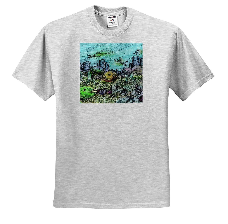 Art 3dRose Travis ECK Fish Wearing Pants Illustration Adult T-Shirt XL ts/_309738