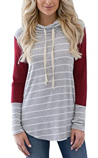 ECOWISH Damen Pullover Casual Patchwork Pulli Langarm Colorblock Kordelzug  Sweatshirt b9f688547f