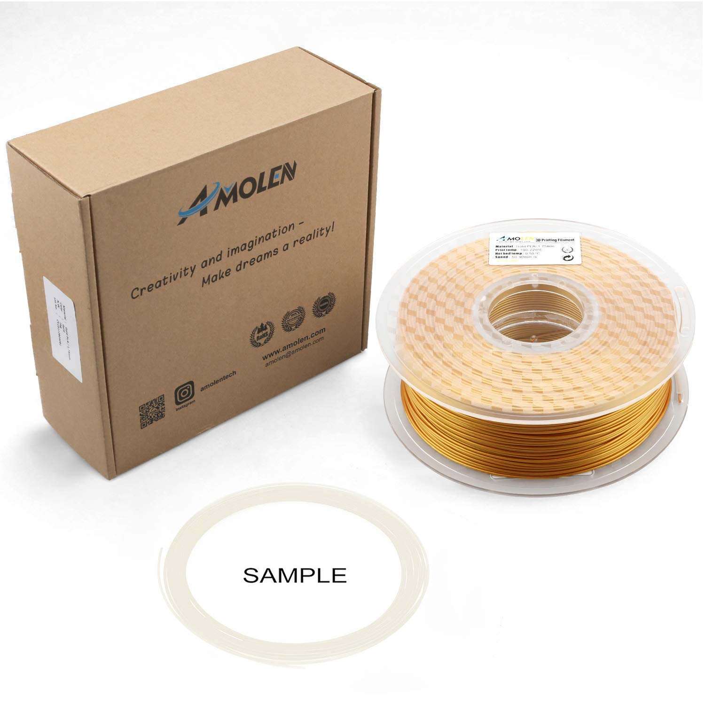 2.2LBS AMOLEN 3D Printer Filament includes Sample Glow in the Dark Blue Filament. 1KG Real Gold PLA Filament 1.75mm +//- 0.03 mm