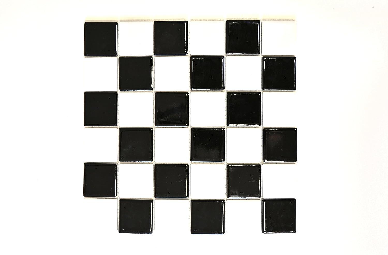 123mosaikfliesen Fliesen Mosaik K/üche Bad WC Wohnbereich Fliesenspiegel Keramik Schachbrett schwarz wei/ß gl/änzend Boden 6mm Neu #537