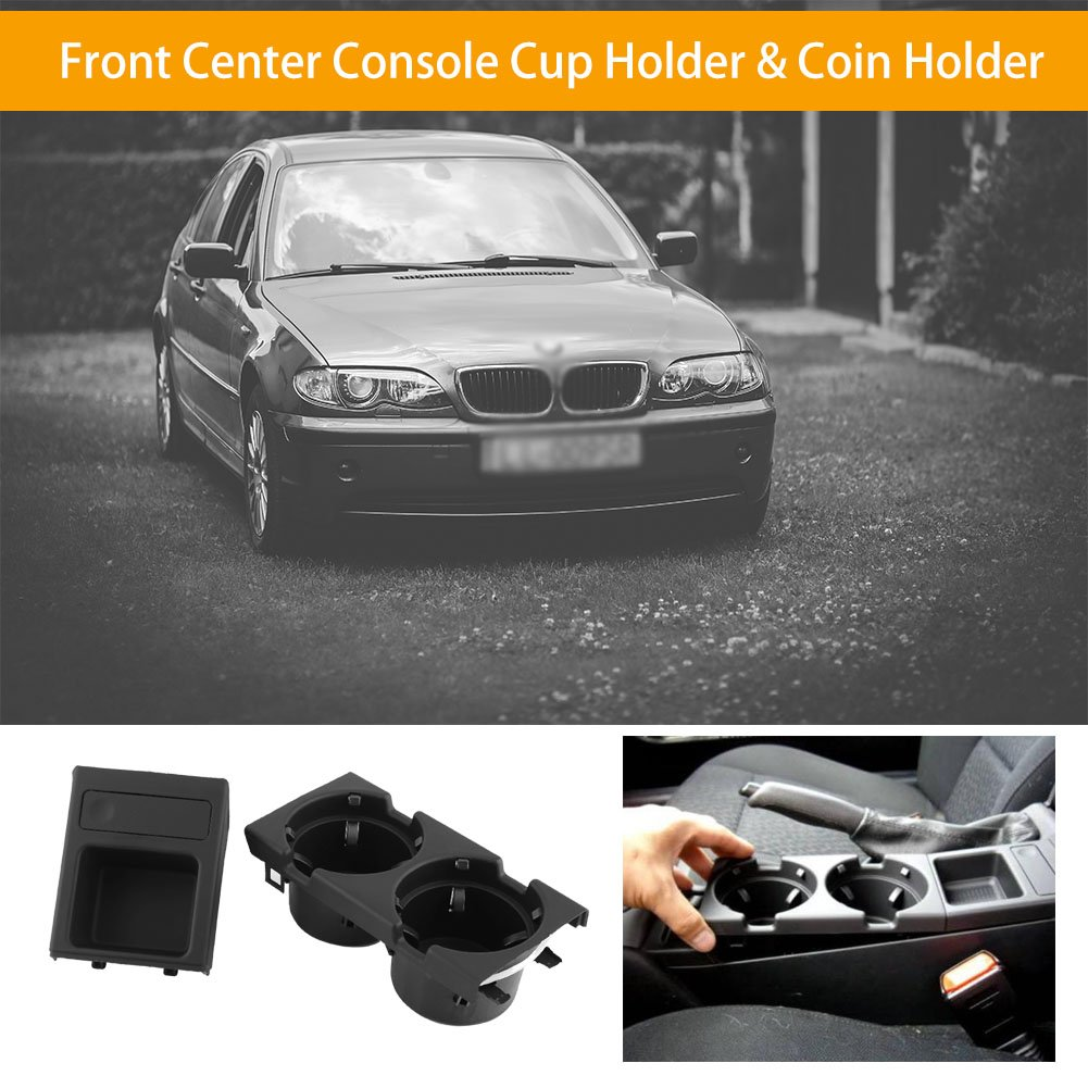 Black Qiilu Car Front Center Console Cup Holder Coin Holder for BMW E46 1998-2004