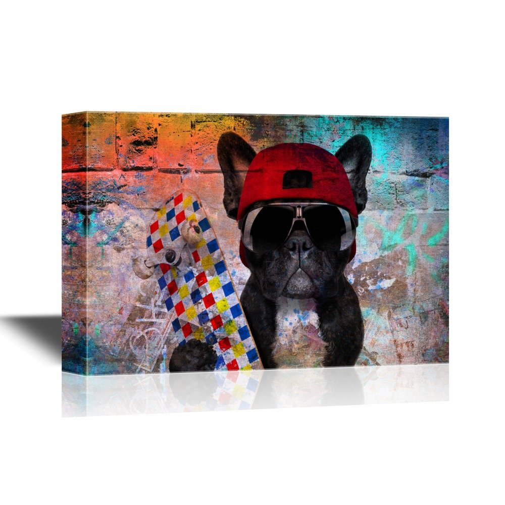 Wall26 art prints framed art canvas prints greeting wall26 skateboard canvas wall art dog with skateboard on abstract background gallery wrap modern home decor ready to hang 24x36 inches amipublicfo Images