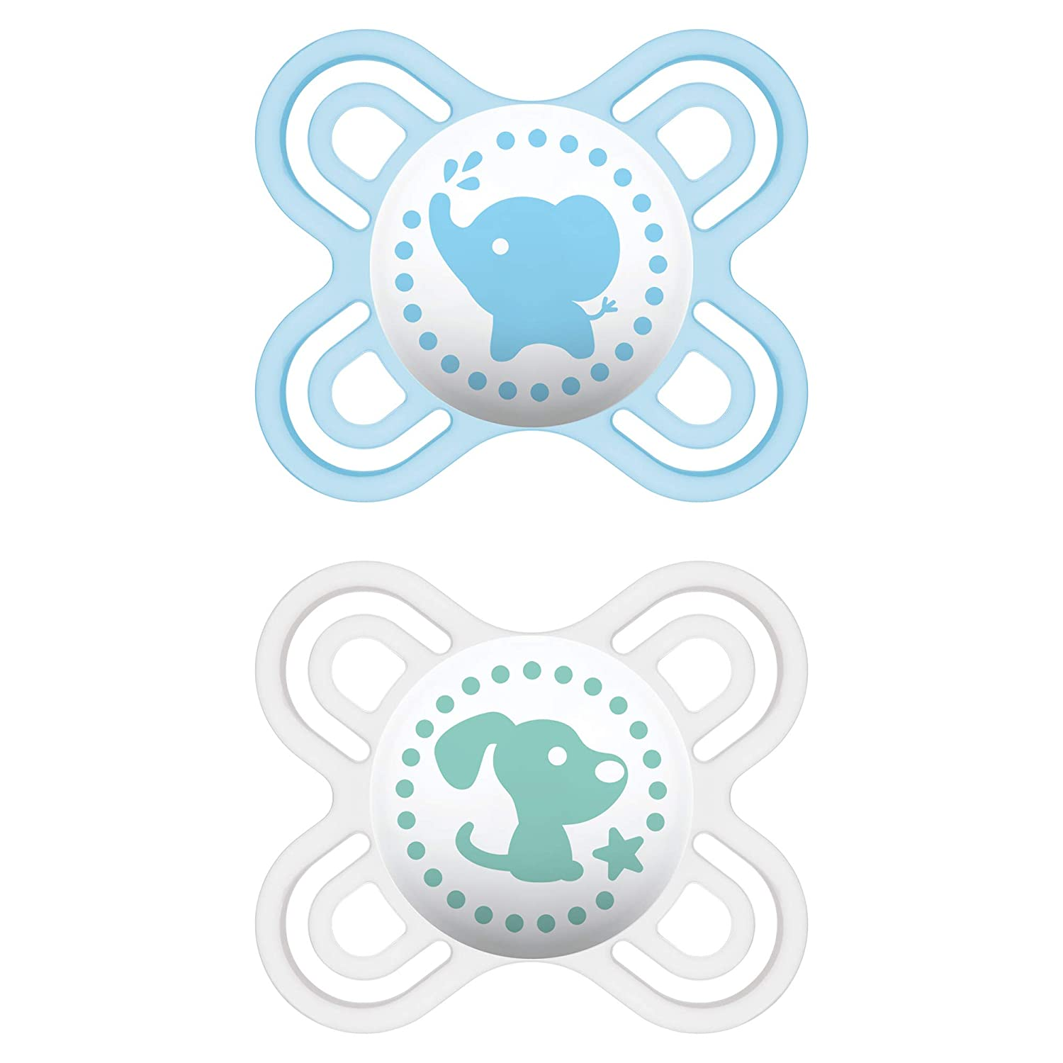 MAM Perfect Start Pacifiers, Orthodontic Pacifiers (2 pack) MAM Newborn Pacifiers, Best Pacifier for Breastfed Babies, Baby Boy Pacifier, Blue