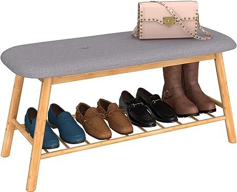 3Tier Wood Shoe Rack Bench Storage Seat Stool Ottoman Entryway Organizer Hallway