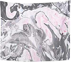 TOMPOP Tapestry Gray Black and Pink Marble Ink Abstract Painting Beautiful Home Decor Wall Hanging for Living Room Bedroom Dorm 50x60 Inches