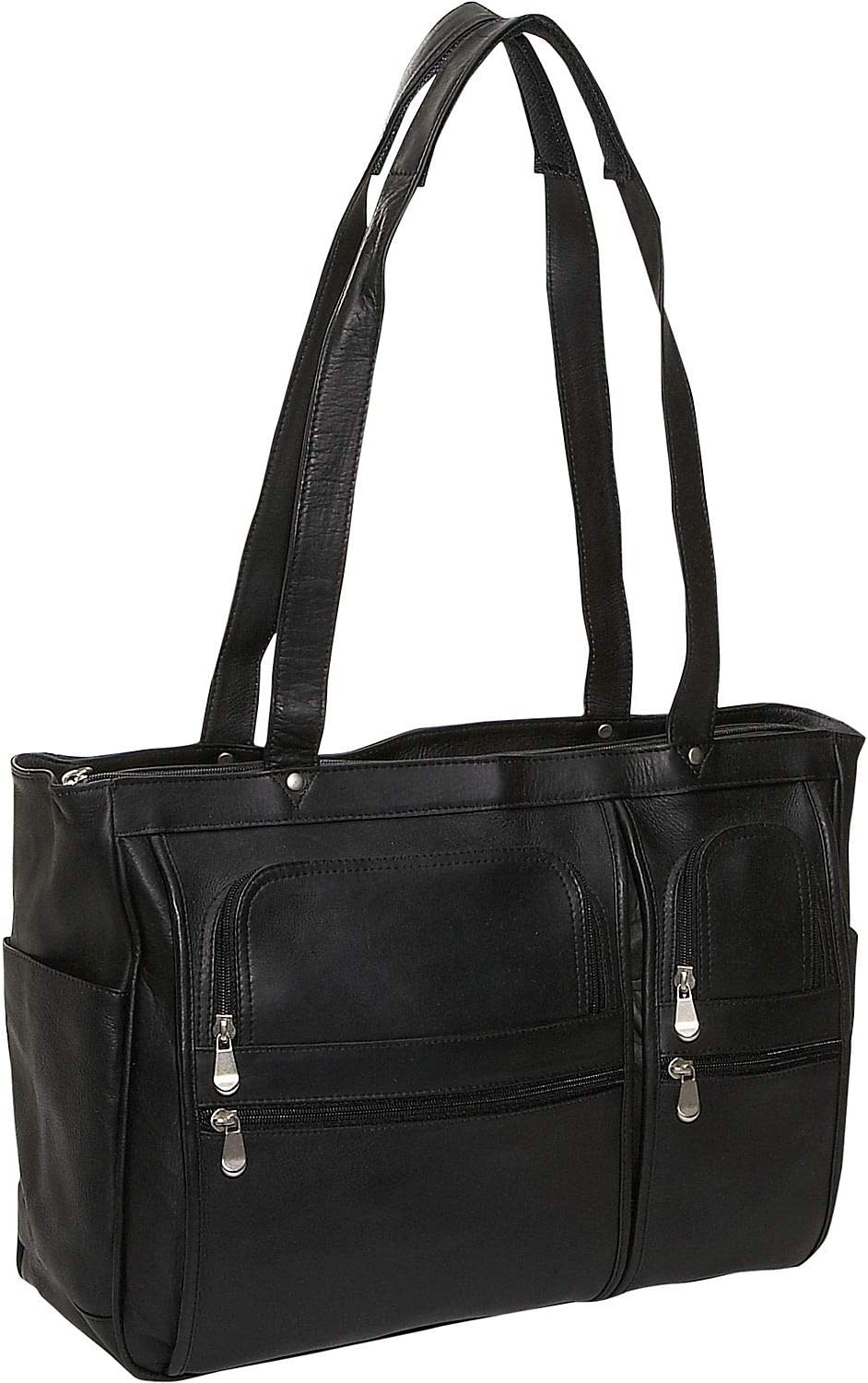 David King Leather Womens Multi Pocket Briefcase in Black