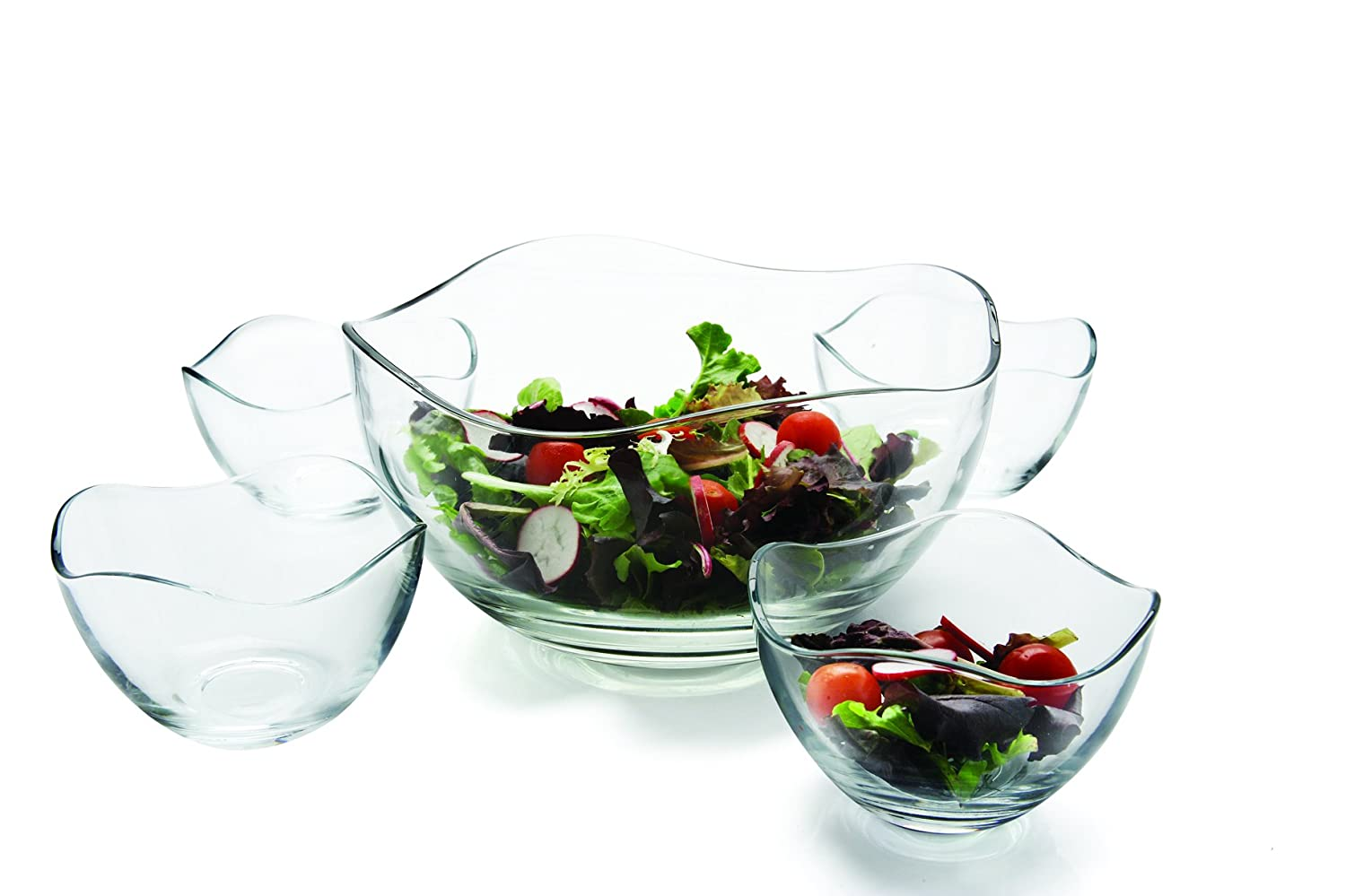 Salad Cheese Ice Cream Home Serving Dish Glassware for Fruits Candy Gala 5pc 1-10D Circleware 55635 Set of 5 Wavy Glass Mixing Bowls Set Best Gifts Punch Dessert 4-5.25D Food