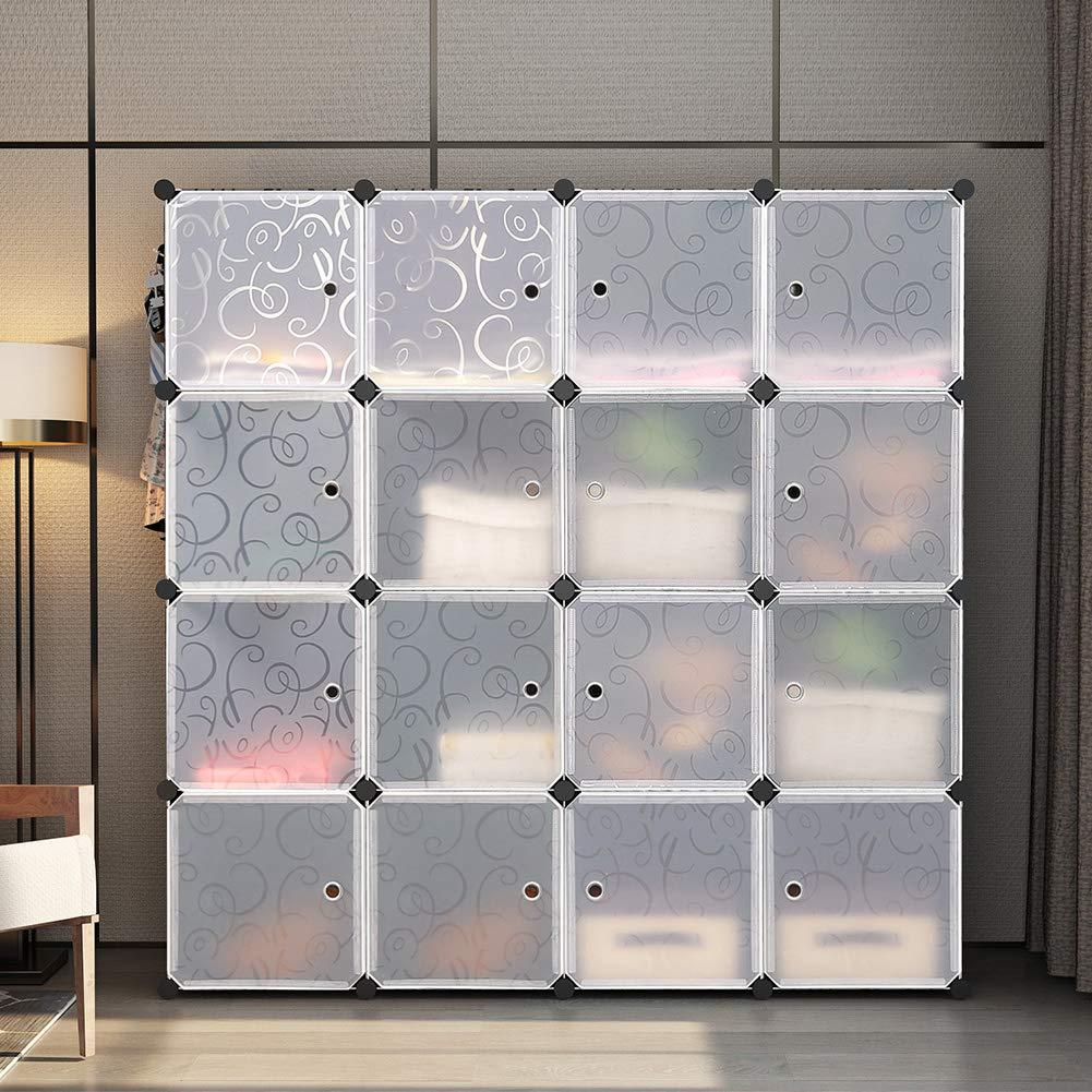 Black 1 Hanger /& 9 Cubes GEORGE/&DANIS Portable Closet Organization Plastic Modular Wardrobe Cube Storage Shelf Bookcase Bookshelf MultiFuncation Toy Organizer Cabinet Dresser
