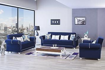 Amazon Com Royal Home Functional Futon Living Room Set Riva Dark Blue Kitchen Dining