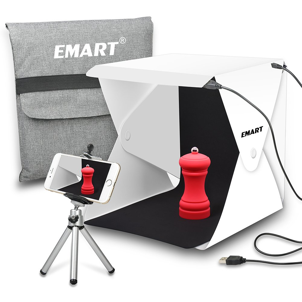 Emart Upgraded 40 LED Foldable & Portable Photo Lighting Studio Shooting Tent Box Kit include White/Black Background, USB Cable, Adjustable Tripod Stand Holder for iPhone by EMART