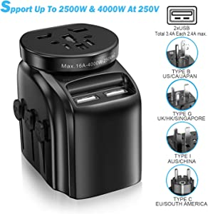 SAUNORCH Universal Travel Adapter Accessories, International Power Adapter W/ 3.4A Dual USB Smart Wall Charger, European Adapter Plugs Adapters for Hair Dryer, UK, EU, US CA ,AU, Italy Asia -Black