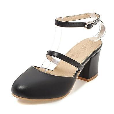 001107a1200f62 New-Loft Retro Narrow Band Ladies Mary Jane Shoes Strap Sandals Block Woman  Black Sandals