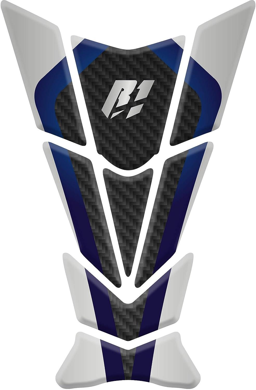 Tankpad Motorad Draht Muster Tankschutz Polymer KOMPATIBEL Yamaha YZF R1 White//Blue