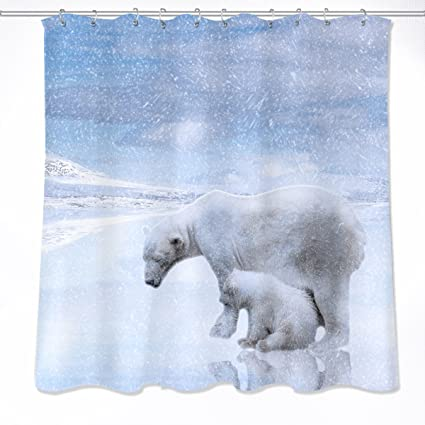 Concise Winter Decoration Shower Curtain Polyester Fabric 3d Digital Printing 60x72 Mildew Resistant Waterproof Ice