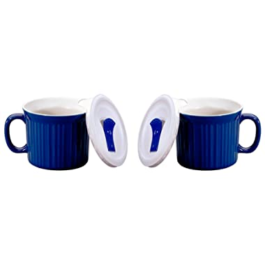 Corningware Pop-Ins 20-OzMug w/ Blue Vented Plastic Cover, Blueberry (Pack of 2)