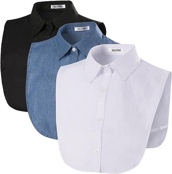 Women/'s White False Faux Peter Pan Half Shirt Blouse Detachable Fake Collar