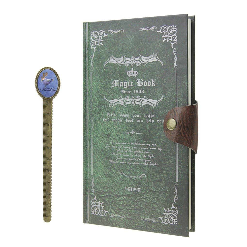 Agenda Rilegatura Magia Book H5Taccuino Vintage quaderno di conto Note Book con pulsante di pressione quaderno a righe Giornale per viaggio registra Souvenir blu/verde YJZQ
