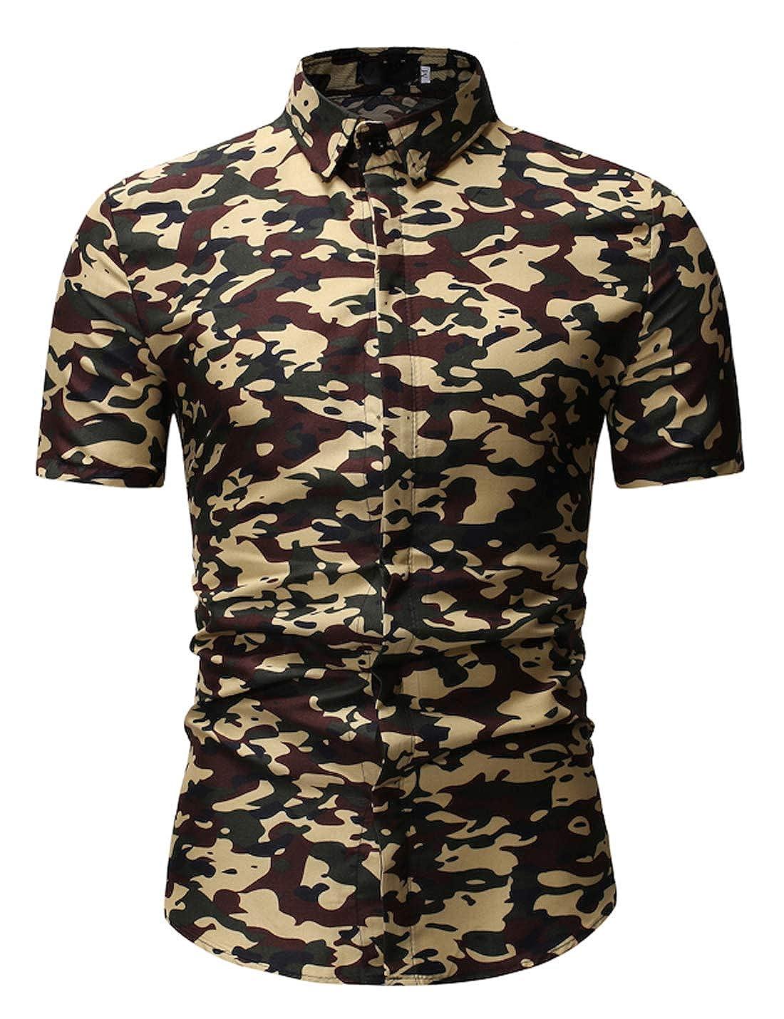 D.B.M Mens Casual Classic Lapel Short Sleeve Button Camouflage Shirt
